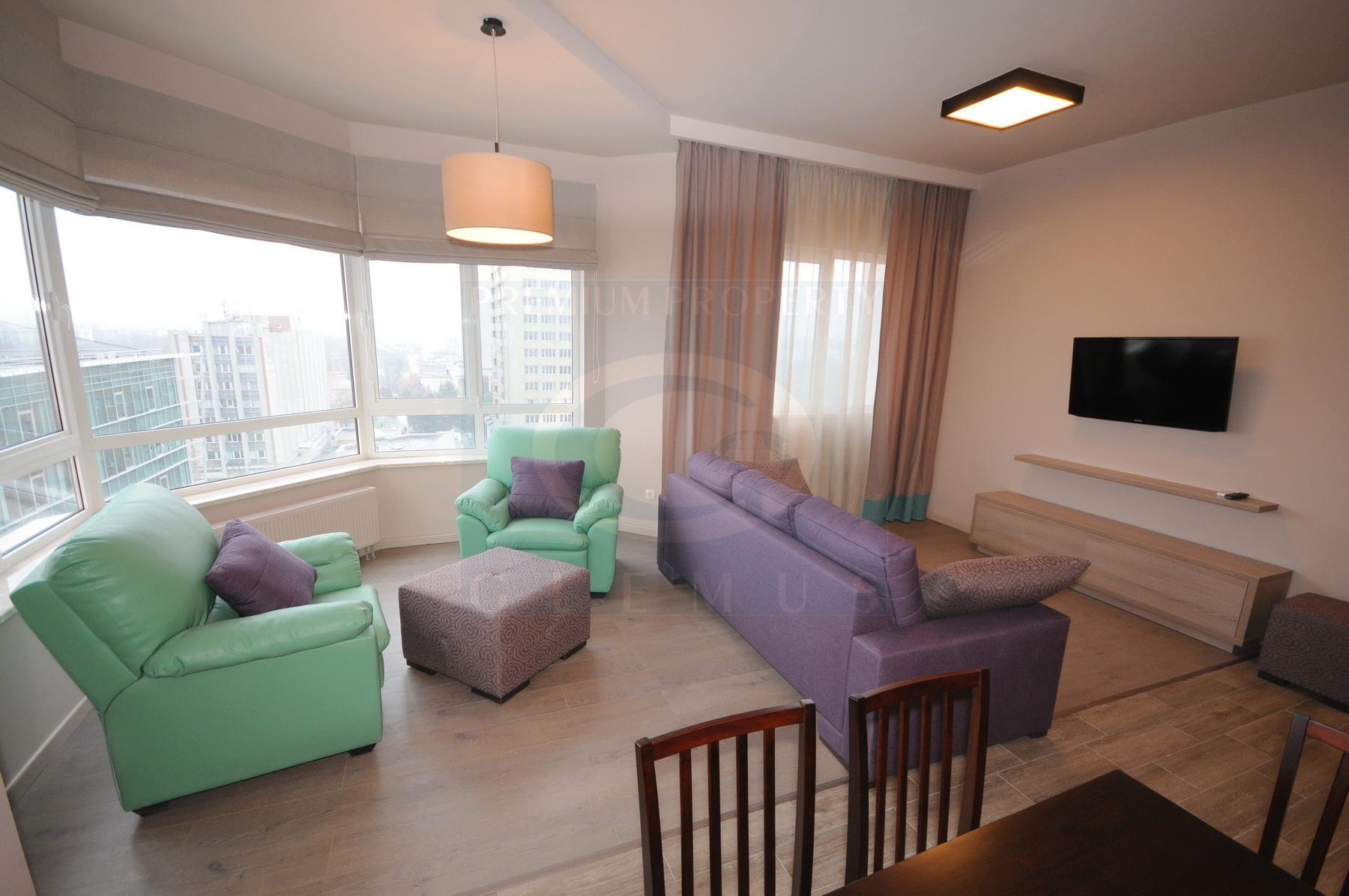 New, light apartment for rent on the high floor in Crown Plaza complex